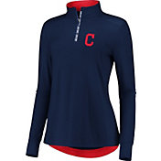 Fanatics Women's Cleveland Indians Navy Iconic Long Sleeve Quarter-Zip Shirt