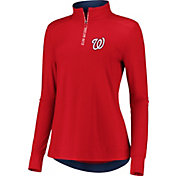 Fanatics Women's Washington Nationals Red Iconic Long Sleeve Quarter-Zip Shirt