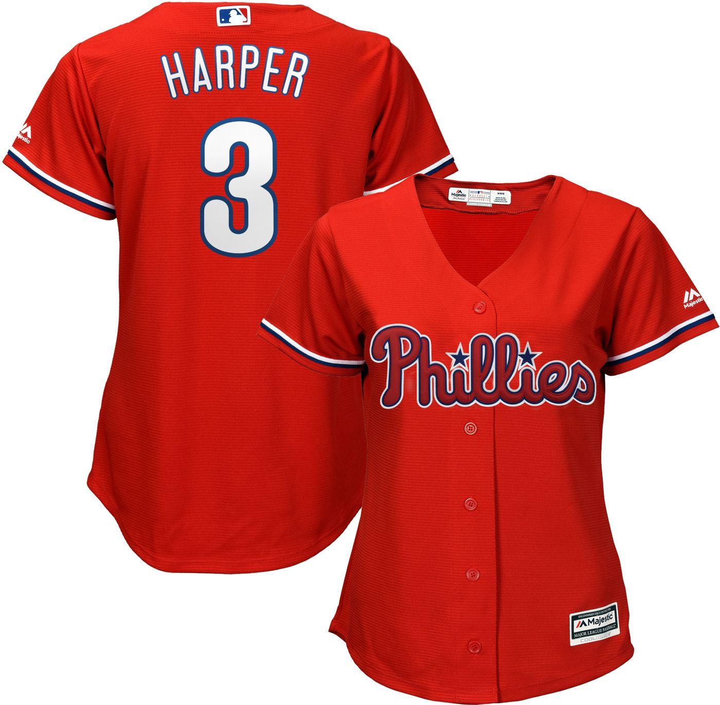 Majestic Women's Replica Philadelphia Phillies Bryce Harper #3 Cool Base Alternate Red Jersey
