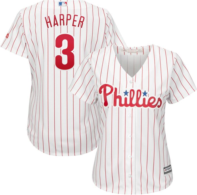 sale retailer 0d4d0 dd2ea Majestic Women's Replica Philadelphia Phillies Bryce Harper #3 Cool Base  Home White Jersey