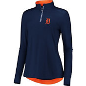 Fanatics Women's Detroit Tigers Navy Iconic Long Sleeve Quarter-Zip Shirt