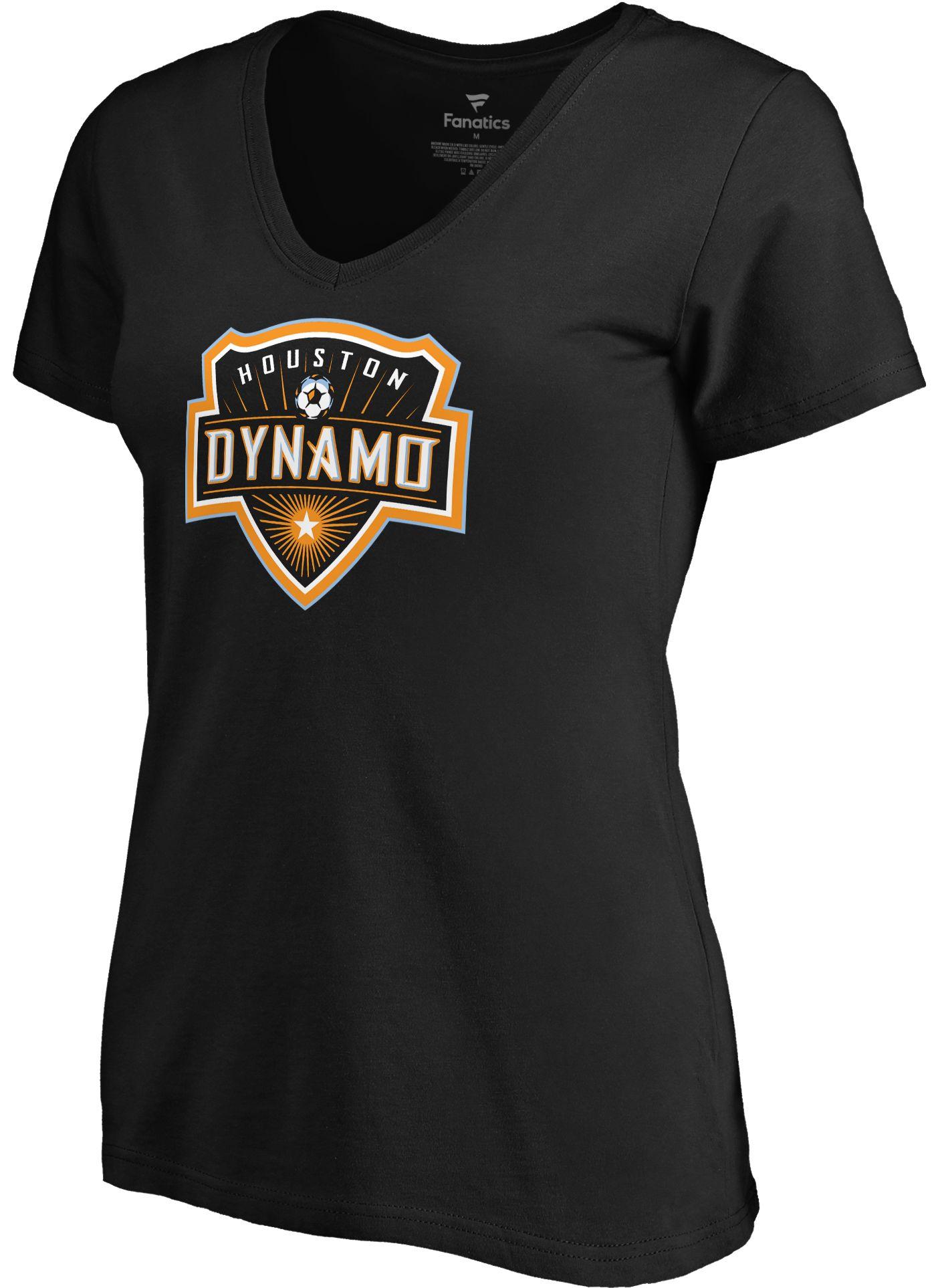 MLS Youth Houston Dynamo Primary Logo Black V-Neck T-Shirt