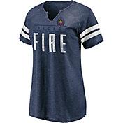 MLS Women's Chicago Fire Navy Notch Neck T-Shirt