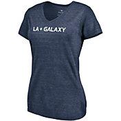 MLS Women's Los Angeles Galaxy Wordmark Tri-Blend Navy V-Neck T-Shirt