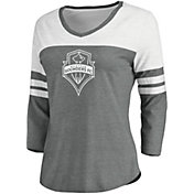 MLS Women's Seattle Sounders Grey Three-Quarter Sleeve T-Shirt