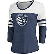 MLS Women's Sporting Kansas City Navy Three-Quarter Sleeve T-Shirt