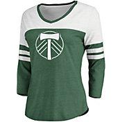 MLS Women's Portland Timbers Green Three-Quarter Sleeve V-Neck Shirt