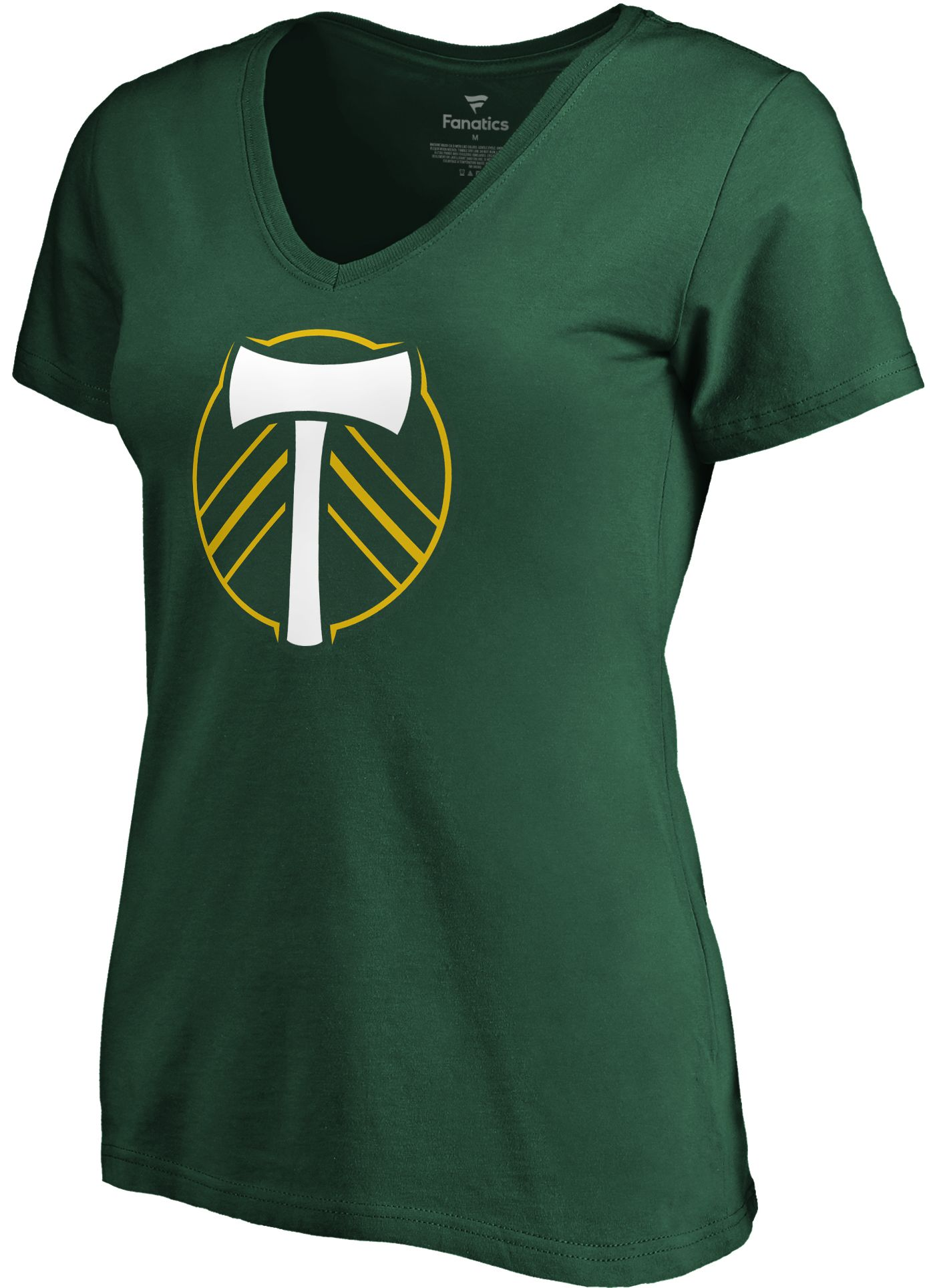 MLS Women's Portland Timbers Primary Logo Green V-Neck T-Shirt
