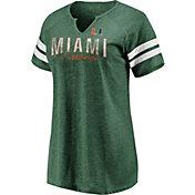 NCAA Women's Miami Hurricanes Green Class Notch T-Shirt
