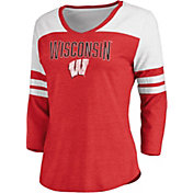 NCAA Women's Wisconsin Badgers Red True Classics ¾ Sleeve T-Shirt