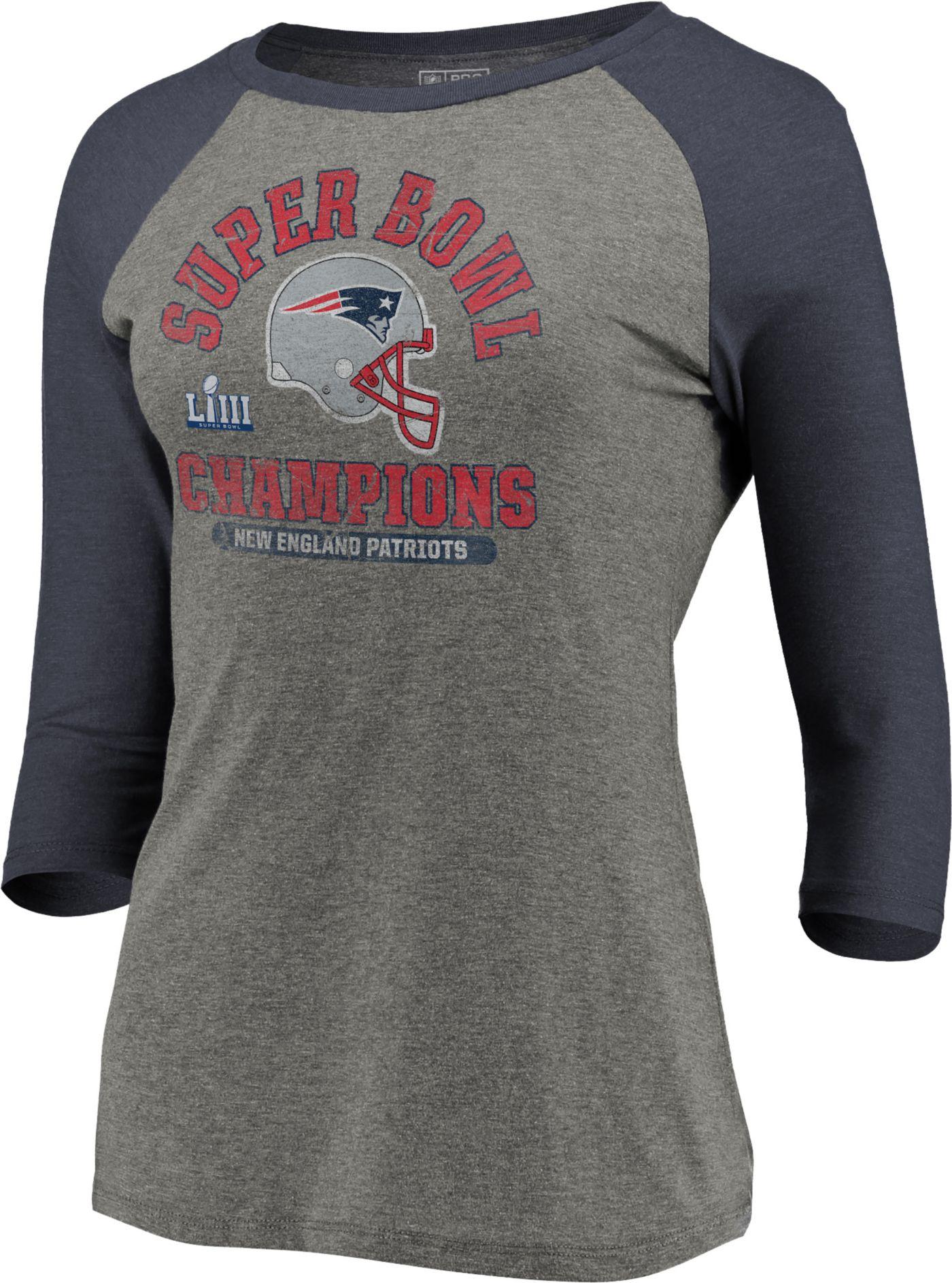 NFL Women's Super Bowl LIII Champions New England Patriots Double Coverage Raglan