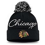 NHL Women's Chicago Blackhawks Exclusive Black Pom Knit Beanie