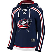 NHL Women's Columbus Blue Jackets Lace Up White Pullover Hoodie