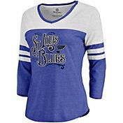 NHL Women's St. Louis Blues Band Stand Raglan Royal Quarter-Sleeve Shirt