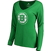 NHL Women's 2019 St. Patrick's Day Boston Bruins Logo Green Long Sleeve Shirt
