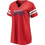 NHL Women's Washington Capitals Slanted Red Heathered V-Neck T-Shirt