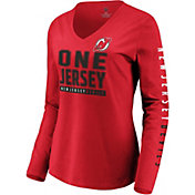 NHL Women's New Jersey Devils Slogan Red Long Sleeve Shirt