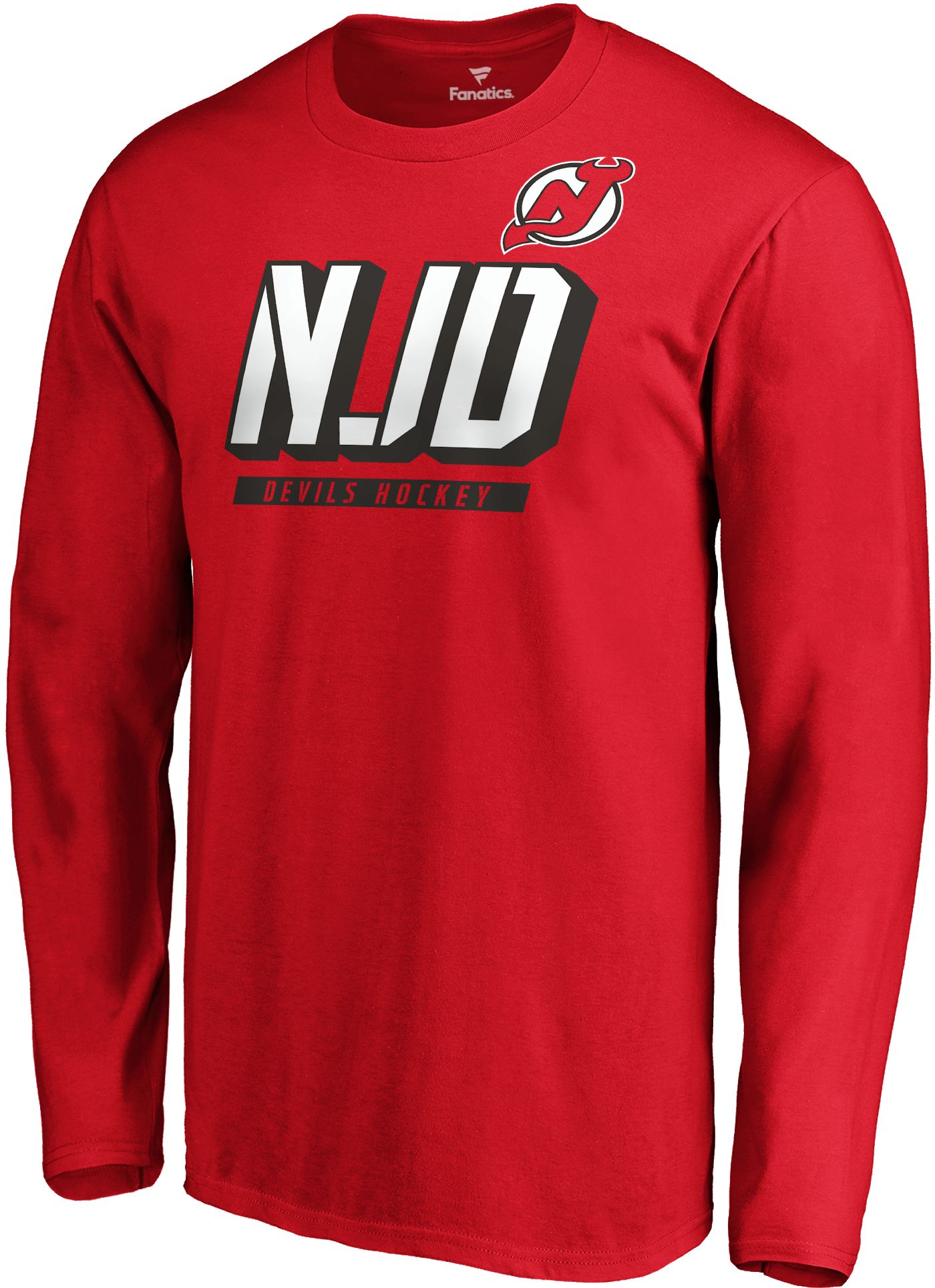 NHL Men's New Jersey Devils Tricode Logo Red Long Sleeve Shirt