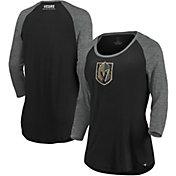 NHL Women's Vegas Golden Knights Shine Black Three-Quarter Sleeve Shirt