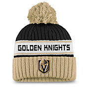 NHL Women's Las Vegas Golden Knights Authentic Pro Black Pom Knit Beanie