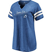 NHL Women's Tampa Bay Lightning Slanted Royal Heathered V-Neck T-Shirt