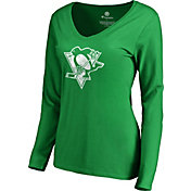 NHL Women's 2019 St. Patrick's Day Pittsburgh Penguins Logo Green Long Sleeve Shirt