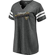 NHL Women's Pittsburgh Penguins Slanted Heather Grey V-Neck T-Shirt