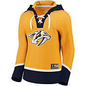 NHL Women's Nashville Predators Lace Up Gold Pullover Hoodie
