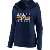 NHL Women's Nashville Predators Stripe Navy Pullover Hoodie