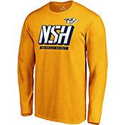 NHL Men's Nashville Predators Tricode Logo Gold Long Sleeve Shirt
