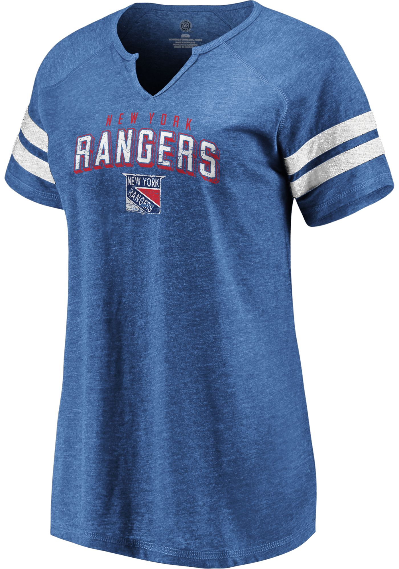 NHL Women's New York Rangers Crash The Net Royal V-Neck T-Shirt