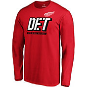 NHL Men's Detroit Red Wings Tricode Logo Red Long Sleeve Shirt