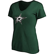 NHL Women's Dallas Stars Primary Logo Green V-Neck T-Shirt