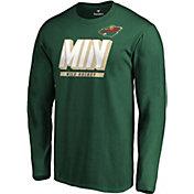NHL Men's Minnesota Wild Tricode Logo Green Long Sleeve Shirt