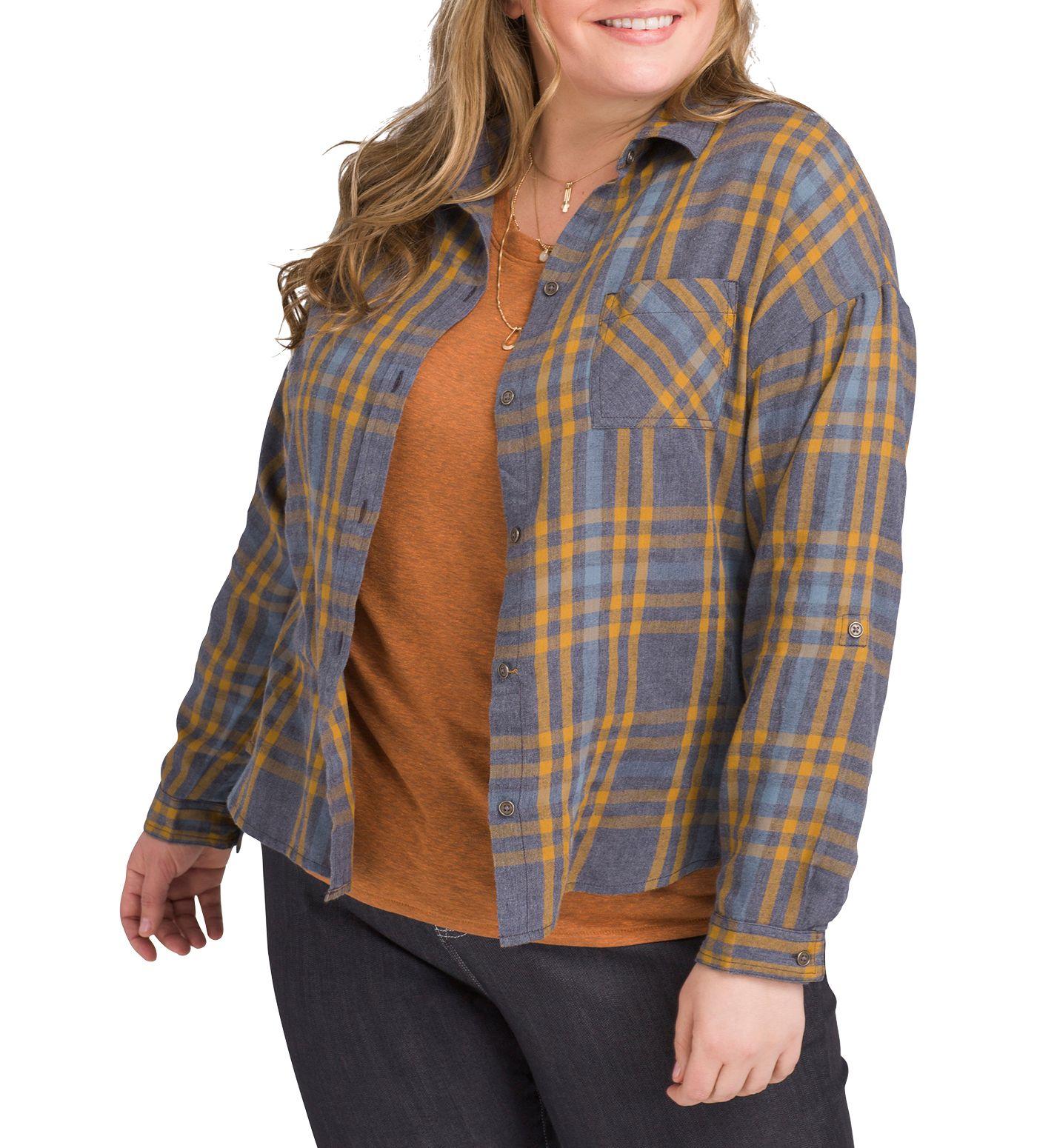 prAna Women's Plus Size Percy Button Down Long Sleeve Shirt
