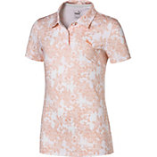 PUMA Girls' Floral Short Sleeve Golf Polo