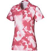 PUMA Women's Soft Geo Print Short Sleeve Golf Polo