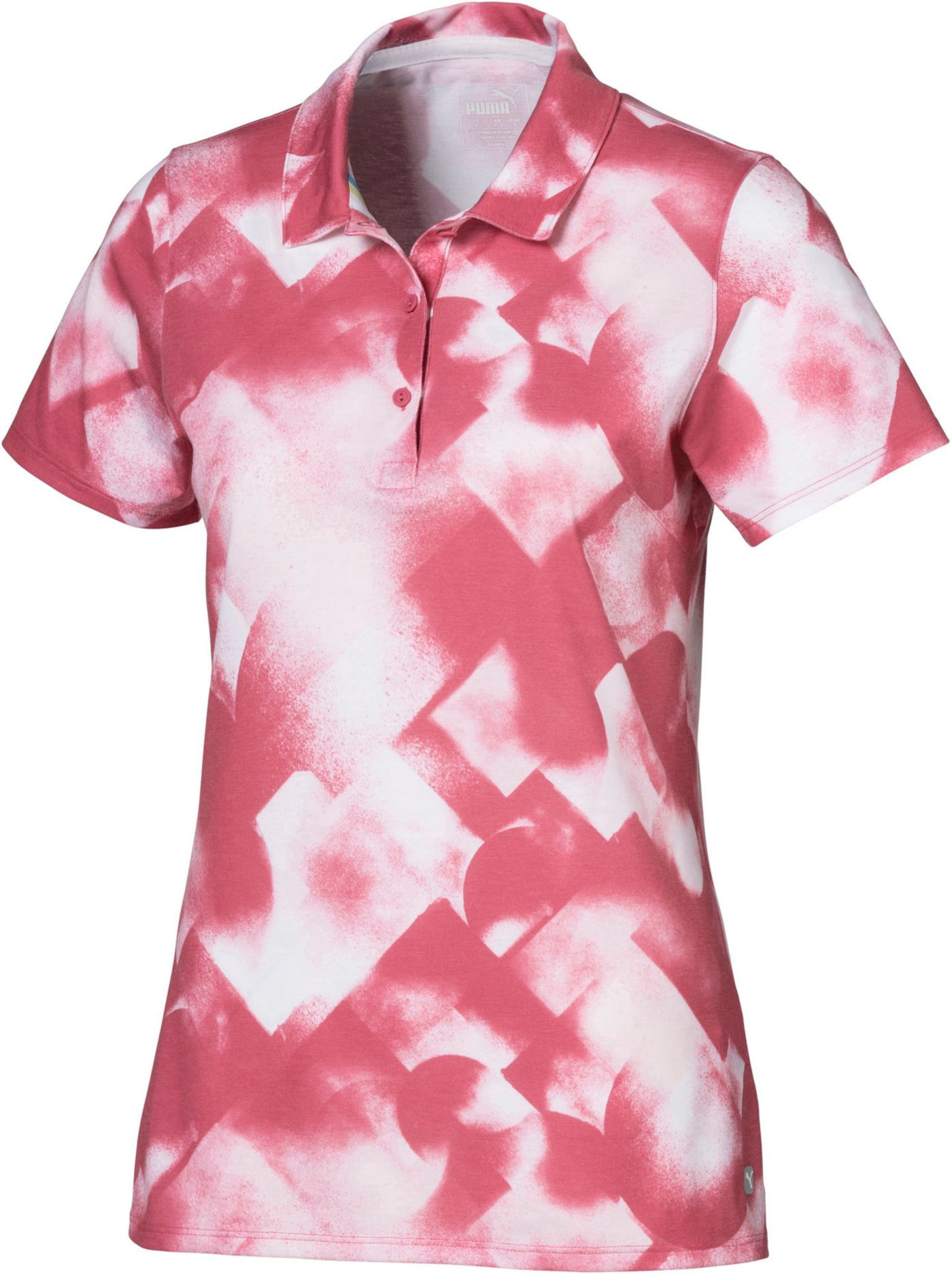 PUMA Women's Soft Geo Print Short Sleeve Golf Polo