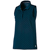 PUMA Women's Sleeveless Polka Dot Golf Polo