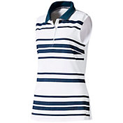 PUMA Women's Sleeveless Stripe Golf Polo