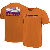 Image One Men's Clemson Tigers Orange Campus Scene Waves T-Shirt