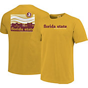 Image One Men's Florida State Seminoles Gold Campus Scene Waves T-Shirt