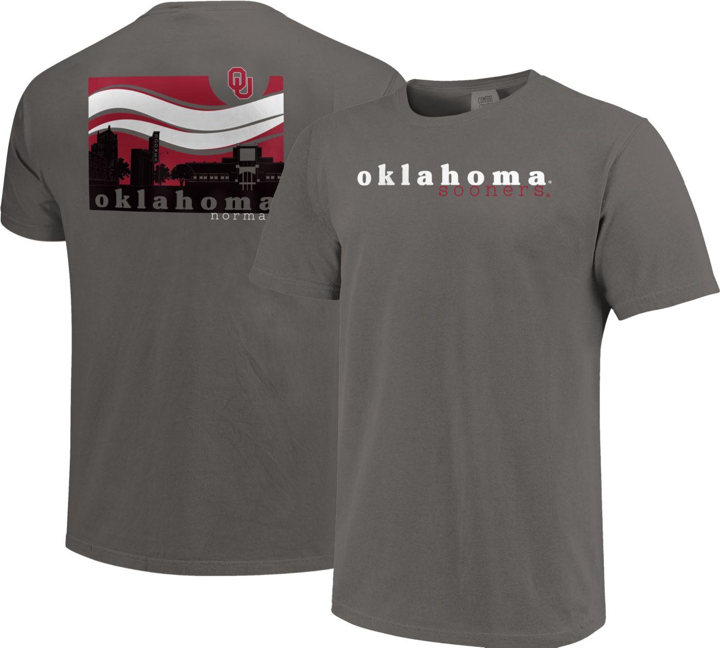 Image One Men's Oklahoma Sooners Grey Campus Scene Waves T-Shirt