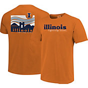 Image One Men's Illinois Fighting Illini Orange Campus Scene Waves T-Shirt