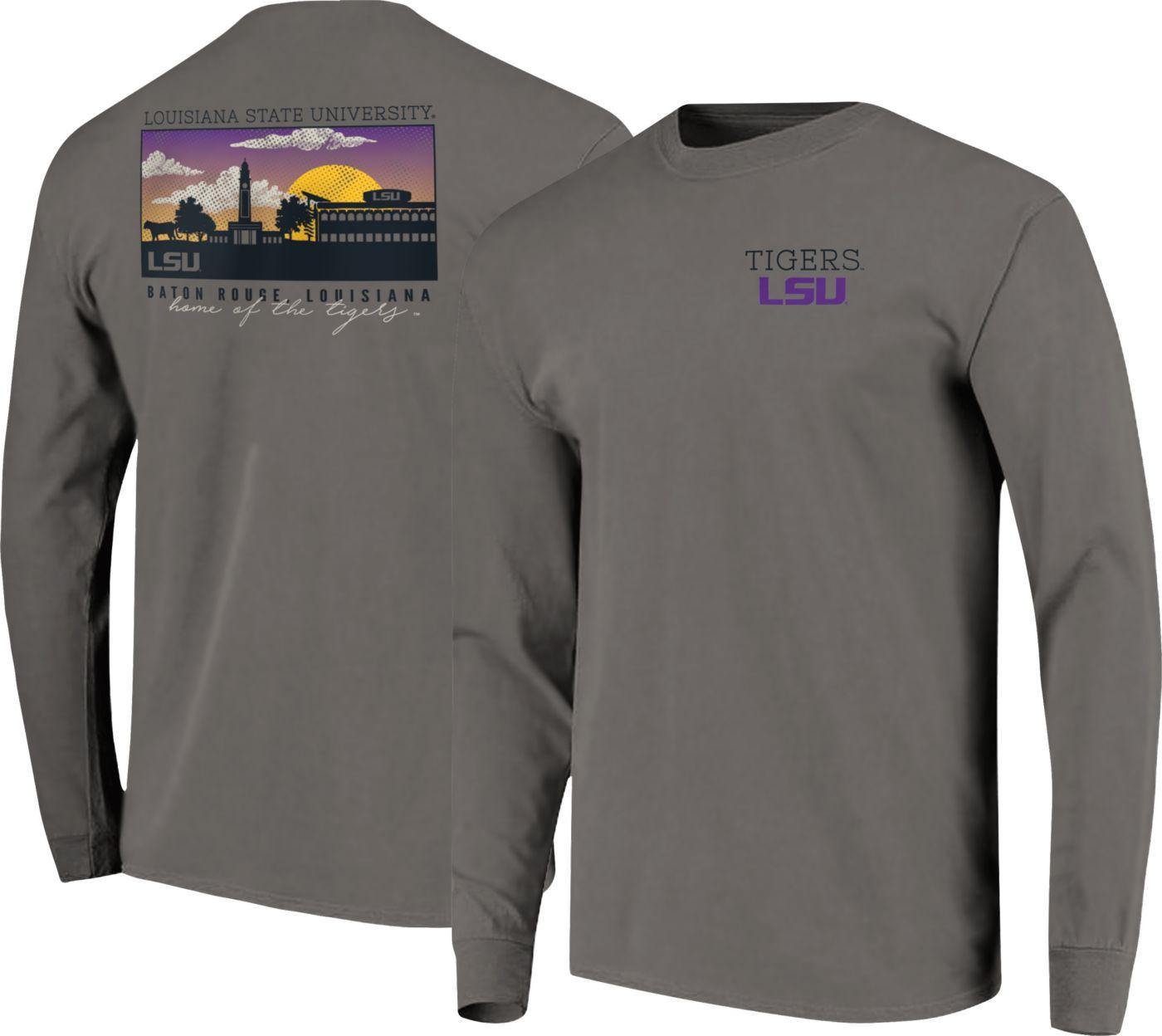 Image One Men's LSU Tigers Grey Campus Scene Long Sleeve T-Shirt
