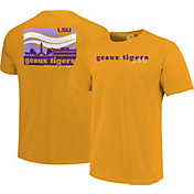 Image One Men's LSU Tigers Gold Campus Scene Waves T-Shirt
