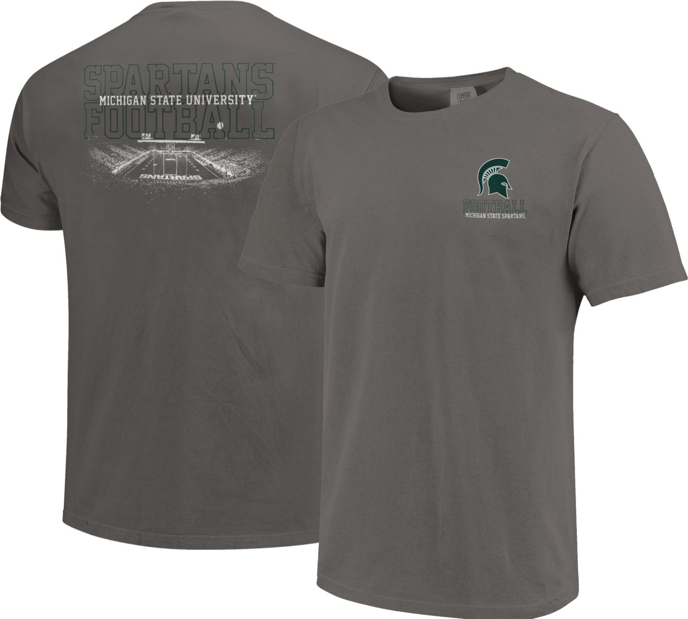 Image One Men's Michigan State Spartans Grey Football T-Shirt