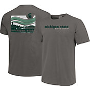Image One Men's Michigan State Spartans Grey Campus Scene Waves T-Shirt