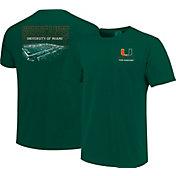 Image One Men's Miami Hurricanes Green Football T-Shirt