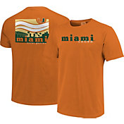 Image One Men's Miami Hurricanes Orange Campus Scene Waves T-Shirt